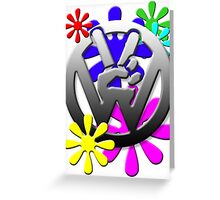 VW Peace hand sign with flowers Greeting Card