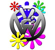 VW Peace hand sign with flowers Photographic Print