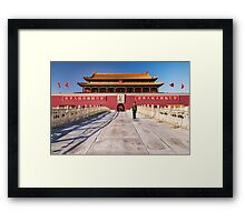Military guard in front of Tiananmen in Beijing China art photo print Framed Print