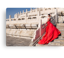 Young bride in red dress in China art photo print Canvas Print