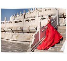 Young bride in red dress in China art photo print Poster