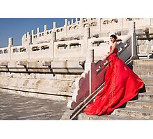 Young bride in red dress in China art photo print Photographic Print