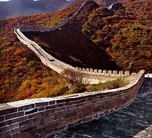 Great Wall of China in fall scenery art photo print by ArtNudePhotos