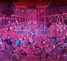 Artwork of Shaolin monks practicing in front of the Temple art photo print by ArtNudePhotos