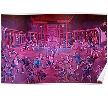 Artwork of Shaolin monks practicing in front of the Temple art photo print Poster