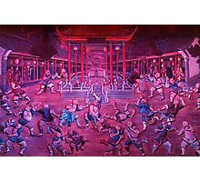 Artwork of Shaolin monks practicing in front of the Temple art photo print Photographic Print