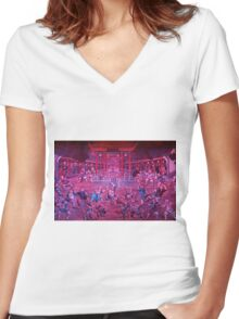 Artwork of Shaolin monks practicing in front of the Temple art photo print Women's Fitted V-Neck T-Shirt