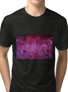 Artwork of Shaolin monks practicing in front of the Temple art photo print Tri-blend T-Shirt