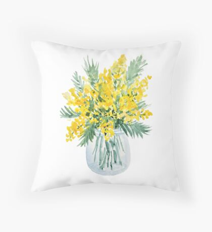 Yellow mimosa flowers bouquet watercolor painting Throw Pillow