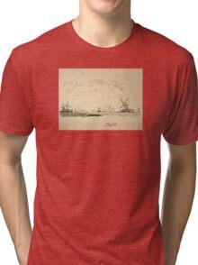 Vintage Sketch of Windmills Tri-blend T-Shirt