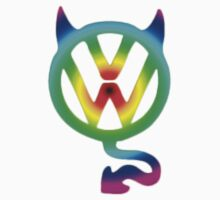 VW devil tail logo tie dye T-Shirt