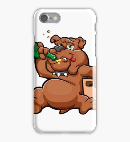 cartoon drunk dog with alcohol  iPhone Case/Skin
