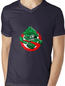 Cartoon Green trash can Mens V-Neck T-Shirt