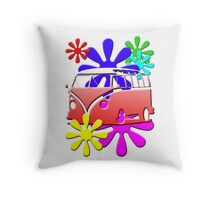 VW BUS with hippie flowers RED version Throw Pillow