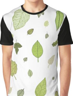 Green Leaves Nature Pattern Illustration Graphic T-Shirt