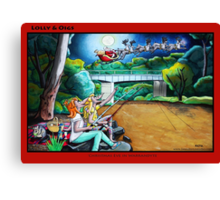 Lolly & Oigs - Christmas Eve in Warrandyte Canvas Print