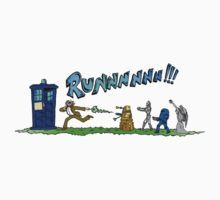 Doctor Who running from enemies One Piece - Short Sleeve