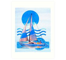 Sail Away With Me - Graphical Sailboat On Blue Art Print
