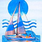 Sail Away With Me - Graphical Sailboat On Blue by Mark Tisdale
