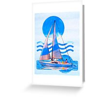 Sail Away With Me - Graphical Sailboat On Blue Greeting Card