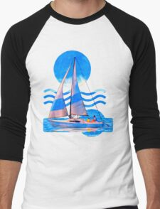Sail Away With Me - Graphical Sailboat On Blue Men's Baseball ¾ T-Shirt
