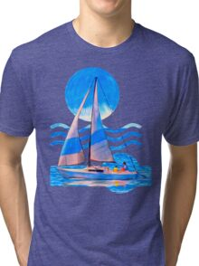 Sail Away With Me - Graphical Sailboat On Blue Tri-blend T-Shirt