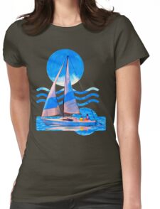 Sail Away With Me - Graphical Sailboat On Blue Womens Fitted T-Shirt