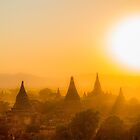 Myanmar. Bagan. View from the top of the Temple. Sunset with the huge Sun. by vadim19