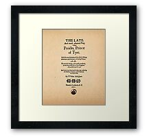 Shakespeare Pericles Quarto Front Piece Framed Print