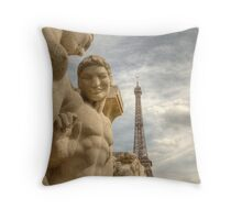 Eiffel Tower Statues Throw Pillow