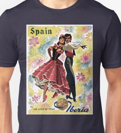 Vintage Spain Airline Dancing Travel Unisex T-Shirt