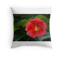 Shiny Red Petals Throw Pillow