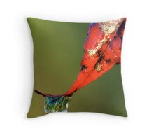 Water Droplet on Leaf Throw Pillow