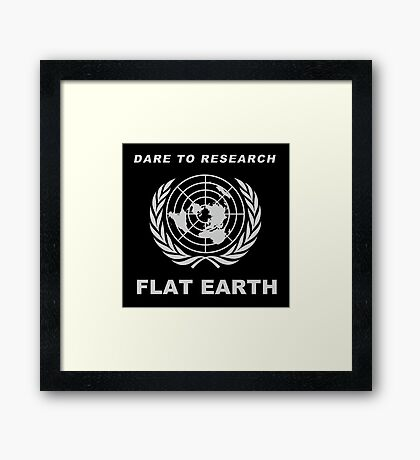 Dare to Research Flat Earth - Flat Earth Theory Map Logo Classic Silver Grey Framed Print