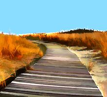 *Abstract Beach Dune Boardwalk* by Elaine Plesser