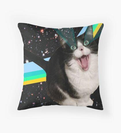 Space Cat Fluff Pillow Throw Pillow