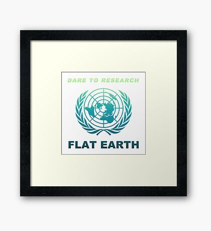 Dare to Research Flat Earth - Flat Earth Theory Map Logo Classic Deep Sea Naval Color Framed Print