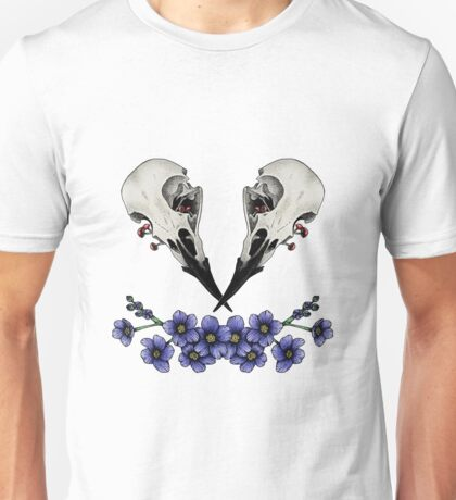 raven skull with flowers Unisex T-Shirt