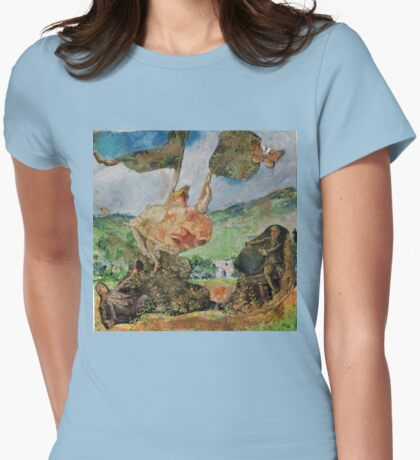 Girl on A Swing (At Poppy Field Near Giverny) Womens Fitted T-Shirt