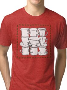 Coffee Beans and Mugs Tri-blend T-Shirt