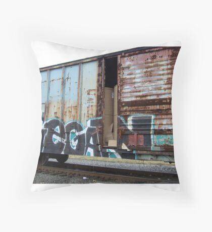 Vegan train car Throw Pillow