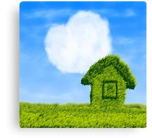 Eco house and cloud heart Canvas Print