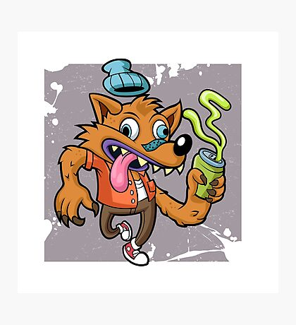 Cartoon hipster wolf with soda  Photographic Print