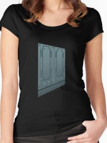 Glitch Homes Wallpaper spaceship left Women's Fitted Scoop T-Shirt