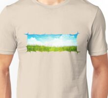 Grass background with ripped paper Unisex T-Shirt