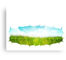 Grass background with ripped paper 2 Canvas Print
