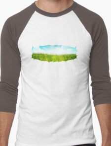 Grass background with ripped paper 2 Men's Baseball ¾ T-Shirt