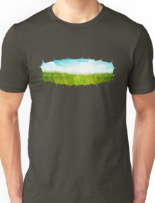 Grass background with ripped paper 2 Unisex T-Shirt