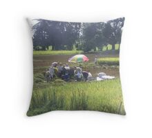 The Rice Harvest Throw Pillow
