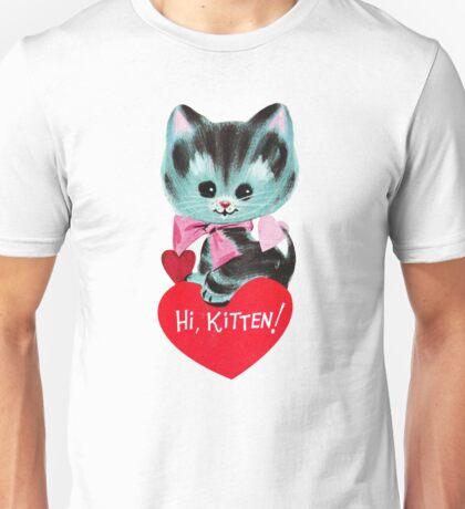 """Hi, Kitten!"" - Vintage, Inspired, Ephemera, Kitty, Kittens, Cat, Kitties, Cute, Red, Hearts, Love, Valentine's, Day, Card, Retro, Tabby, Blue, Pretty, Bow, Love, Romantic, Romance, Cupid Unisex T-Shirt"